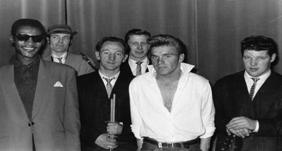 HowSen - Howie and the Seniors in 1961 at the Hollyoak Hall, Liverpool, on the corner of Smithdown Road and Penny Lane: (l-r) Derry Wilkie (vocals), Howie Casey (sax), Frank Wibberly (drums), Griff Griffiths (guitar), Freddie Fowell ((Starr)) (vocals), Phil 'Spread' Whitehead (bass)